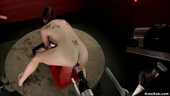 Bound and spreaded babe machine fucked