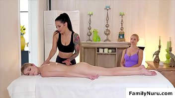 Skinny teen massage by naked lesbians
