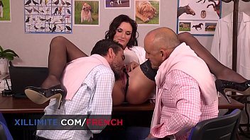 French busty vet gets fucked in DP by 2 men