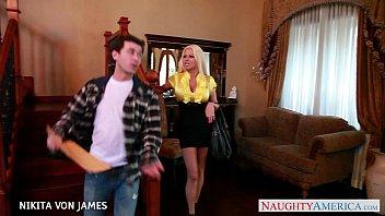 Salacious blonde Nikita Von James ride a big cock thumbnail