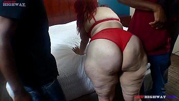 Mature black ghetto Redhead ghetto hillbilly sucking two big black cocks at the same time on bbwhighway