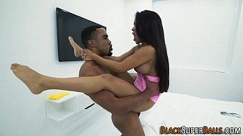 Latina rides black shlong