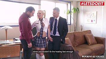 LETSDOEIT - Naughty School Girl Barbie Sins Rides Two Hard Cocks In MMF Sex