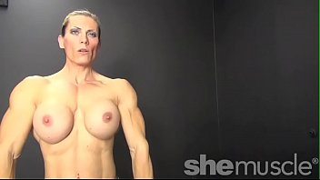 Women athletes naked Naked female bodybuilder shows off big biceps and boobs