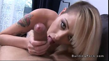 Malice naked - Tattooed busty blonde sucks huge dick and fucks in pov