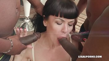 Nympho Petite Sasha Colibri Pissing and Rough BBC Gangbang with a Creampie Finish