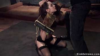 Brunette is toyed in gyno chair bondage