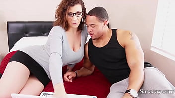 Fine Tutor Sara Jay Shows A Football Jock How To Touch Her Down! Yes! 6 min