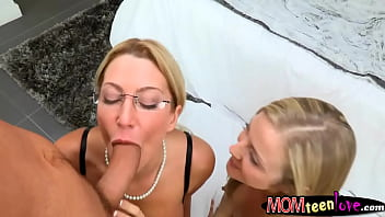 Big tits milf Jennifer Best horny 3some sex on the bed