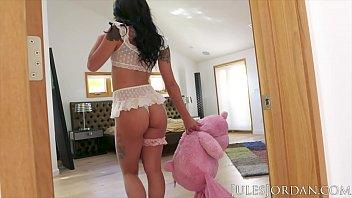 Jules Jordan - Teddy Bear Slut Gina Valentina Has Her Ass Fucked Hard