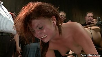 Babe is tormented and fucked in public