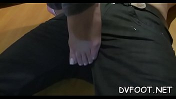 Naughty sweetheart grinds dick with hot feet while rubbing cunt