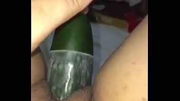He gets a huge cucumber