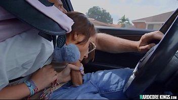 Schoolgirl Wanks Huge Dick In Car