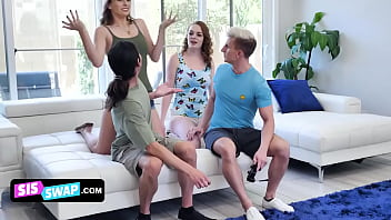 Beautiful Teen Friends Angel Youngs & Samantha Reigns Trick Their Step Brothers And Ride Their Cocks