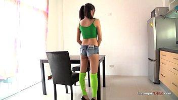 Tall slim Thai girl reverse cowgirl ride