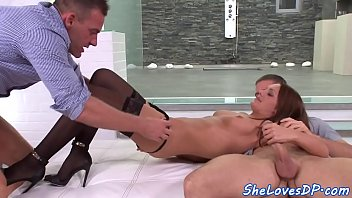 Threesome loving babe fucked and facialized