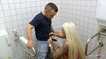 Freaky Midget Dwarf Fuck Sexy German Teen on Public Toilet 12 min