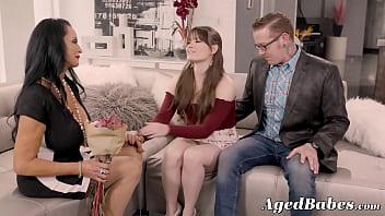 Mature babe seduces young couple into hard threeway pounding