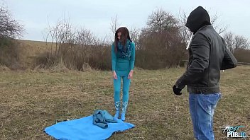 Russian slut drilled hard by two horny strangers in public