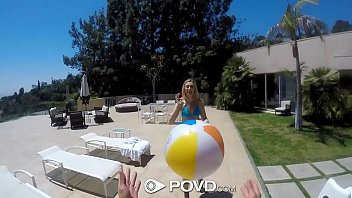 POVD Outdoor fuck and facial for small breasted blonde Alexa Grace thumbnail