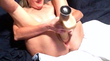 Mature asian females Horny wife toys with her new huge dildo