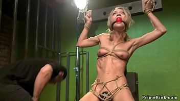 Skinny blonde anal toyed in hogtie