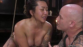 Busty Asian sub finger fucked