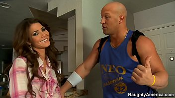 Naughty America Brunette Jenni Lee fucking in the couch with her tits 14 min