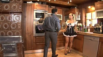 Dude with huge dick  stretches out ass and pussy on cock sucking maid Mia Leone