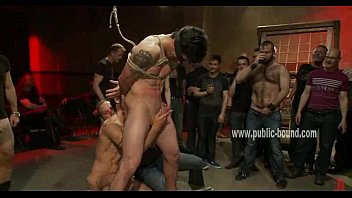 Bi gang bang video - Gay man with hands behind in ropes