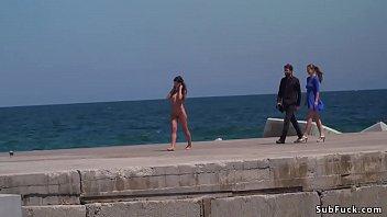 Tina strip - Bare spanish slave walked on streets