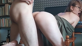 Sucked and fucked with lonesome guitarist cum on face, eyeglasses and hair - Kibli Slow