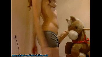 Hot Girl On Webcam Riding Toy Horse