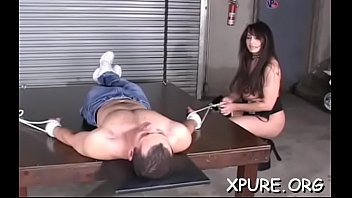 Trapped dude gets mistreated and s. by hot hotties