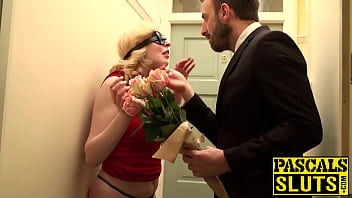 Busty Sub Has A Rose In Her Mouth And A Dick Up Her Pussy