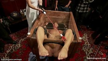 hot slave rough fucked in public