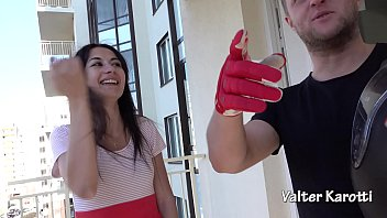 PROFESSIONAL PICK UP - DOUBLE DEEPTHROAT AND FUCK IN THE ASS CUTE TEEN NEIGHBOR