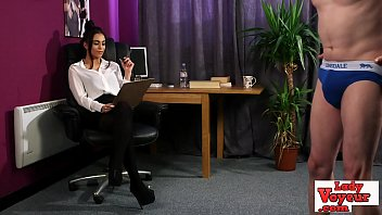 Stockinged office babe watches her sub wank preview image