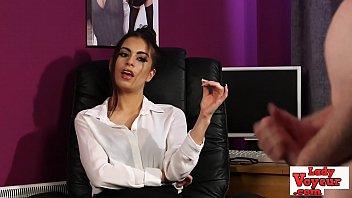 Stockinged Office Babe Watches Her Sub Wank