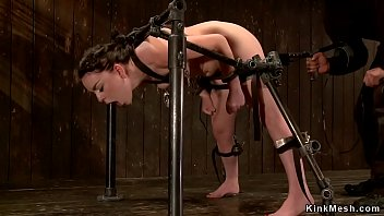 Gagged and strapped slave vibrated