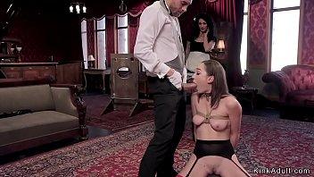 Hot slaves anal banged in threesome bondage 5 min