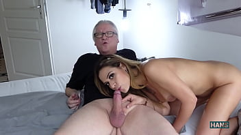 Blow - lick - and -  dildo games with latin beauty Bella Rico and grandpa cums twice. Once in the mouth and once on the tits.