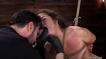 Brunette slave slut is anal fucked