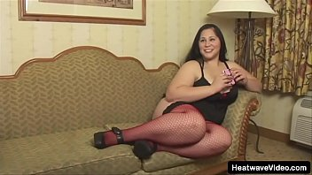 Fat Latina with sexy red stockings is horny for her lover to fuck her hard
