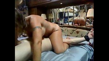 Amateur wife riding face dildo