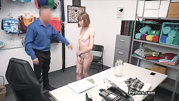 Red head thief in skirt punished at the back office