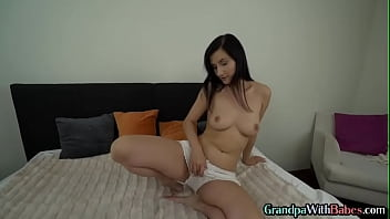 Babe rides grandpa cock before getting fucked and facial