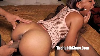 teen ebony lovemore gets her pussy smashed threesome