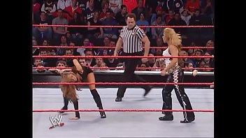 Mickie James faces Maria while dressed as Trish Stratus. Raw 2006. thumbnail